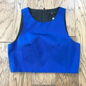 Tibi Back Zip Crop Top Cotton/Silk Blend Size 4